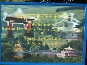 Welcoming sign to Samye Ling